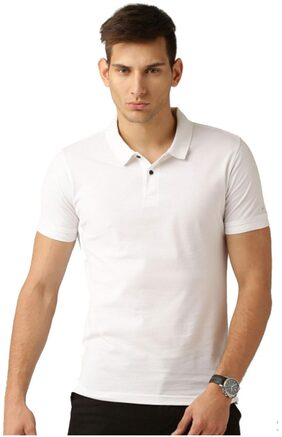 Concepts Men Regular Fit Polo Neck Solid T-Shirt - White