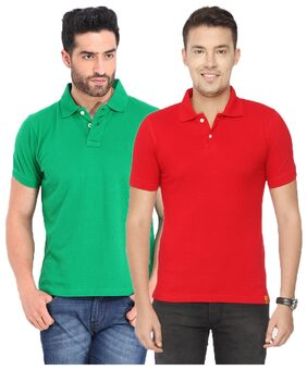 KETEX Men Slim Fit Polo Neck Solid T-Shirt - Red