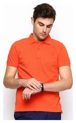 KETEX Men Slim fit Polo neck Solid T-Shirt - Orange