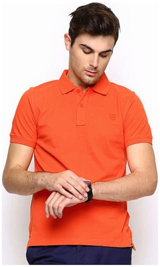 FUNKY GUYS Men s Slim Fit Round Neck Solid T-Shirt - Orange