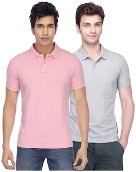 Men Polo Collar Solid T-Shirt ,Pack Of Pack Of 2