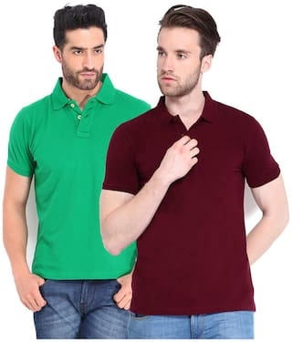 Concepts Men Multi Slim fit Polyester Polo neck T-Shirt - Pack Of 2