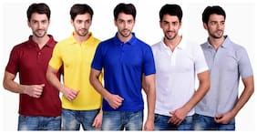 Men Polo Collar Solid T-Shirt ,Pack Of Pack Of 5