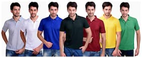 Men Polo Collar Solid T-Shirt ,Pack Of Pack Of 7