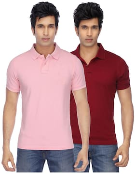 35e5a6f5adcf5 KETEX Men Regular Fit Polo Neck Solid T-Shirt - Pink