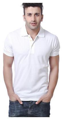 KETEX Men Slim fit Polo neck Solid T-Shirt - White
