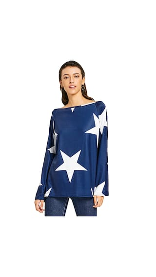Star Sleeve Print Convertible shirt Neck T Raglan 6wcvR