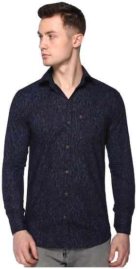 CB COTBLEND Men Blue Printed Slim Fit Casual Shirt