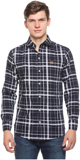 CB COTBLEND Men Blue Checked Slim Fit Casual Shirt