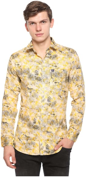 CB COTBLEND Men Yellow Printed Slim Fit Casual Shirt