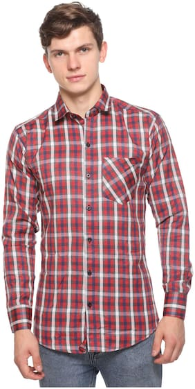 CB COTBLEND Men Red Checked Slim Fit Casual Shirt