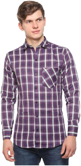 CB COTBLEND Men Purple Checked Slim Fit Casual Shirt