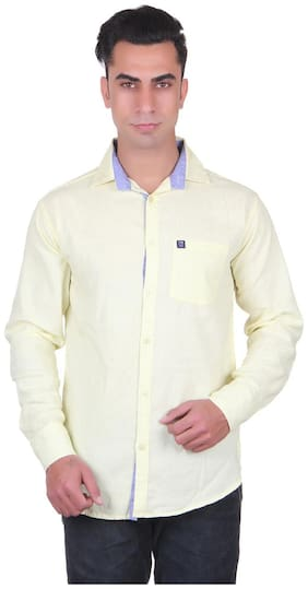 CB COTBLEND Men Slim Fit Casual shirt - Yellow