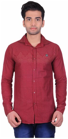 CB COTBLEND Men Slim Fit Casual shirt - Red