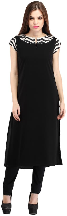 Cottinfab Women Viscose Solid Straight Kurta - Black