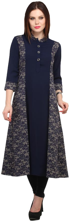 Cottinfab Women Viscose Floral A line Kurta - Blue