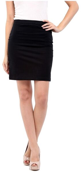 Cottinfab Solid Mini Skirt - Black