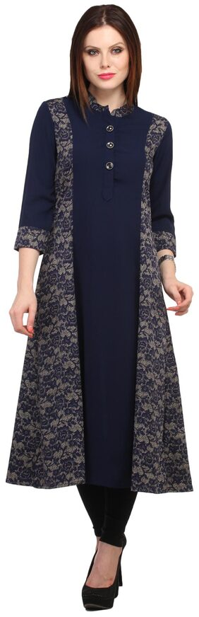 Cottinfab Women Viscose Floral Anarkali Kurta - Blue