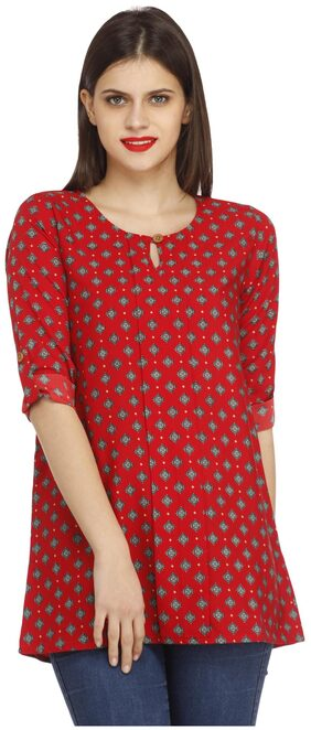 Cottinfab Red Polyester Top