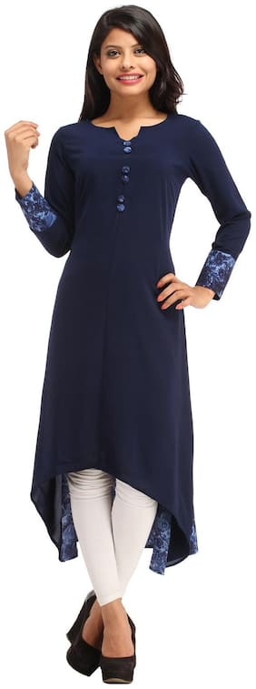 Cottinfab Women Crepe Floral Assymetrical Kurti dress - Blue