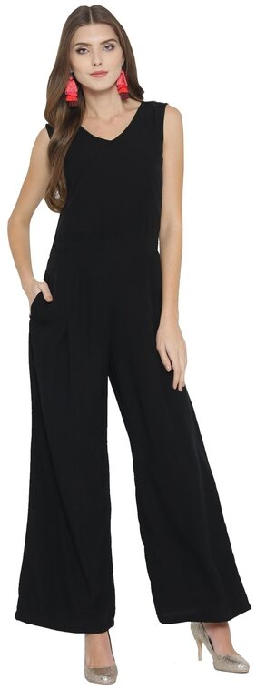 Cottinfab Solid Jumpsuit - Black
