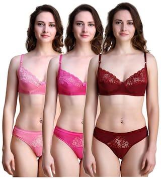 In Beauty Solid Bikini brief Push-up bra - 3 Lingerie Set