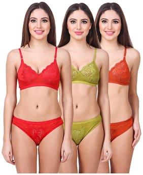 In Beauty Solid Bikini brief Push-up bra Lingerie Set - Multi