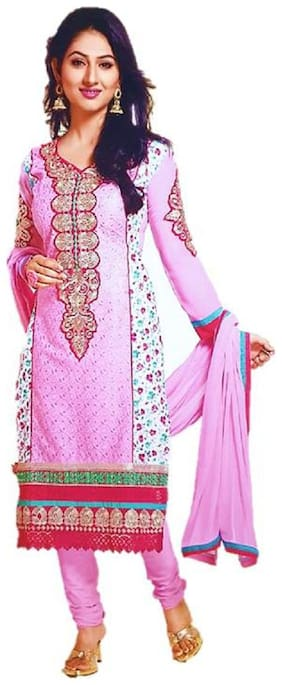 Cotton Floral Print, Embroidered Semi-stitched Salwar Suit Dupatta Material