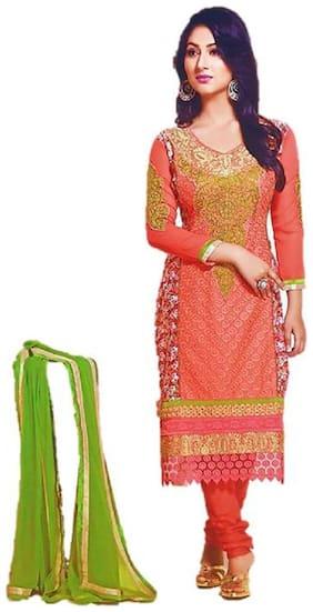 Epraiser Women Orange Floral & Printed Straight Kurta With Churidar And Dupatta