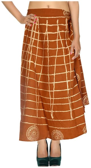 Cotton Gold Printed Brown & Others Checkered Pattern Maxi Length Casual Wrap Around Women Skirt By Rajrang