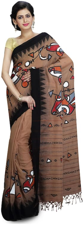 Cotton Hand Paint Saree With Jamdani Work without Blouse