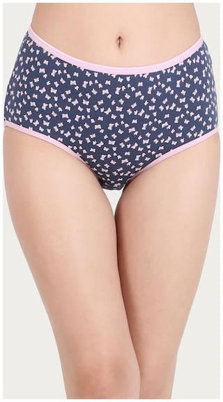 Clovia Pack Of 1 Printed High Waist Hipster Panty - Blue