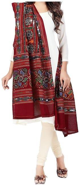 Cotton kutch work dupatta with Aari Work