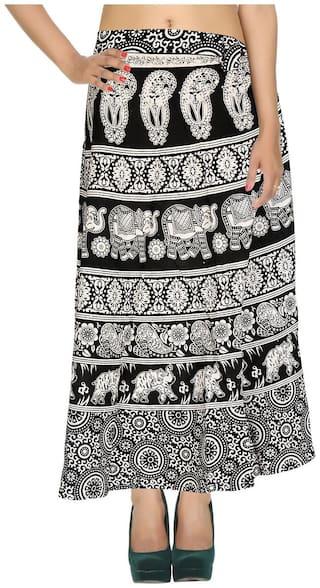 Cotton Printed White & Black Elephant Pattern Maxi Length Casual Wrap Around Women Skirt By Rajrang