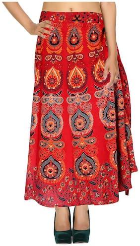 Cotton Printed Red & Grayish Green Damask Pattern Maxi Length Casual Wrap Around Women Skirt By Rajrang