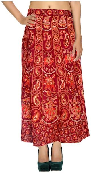 Cotton Printed Red & Orange Elephant Pattern Maxi Length Casual Wrap Around Women Skirt By Rajrang