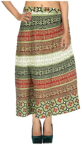 Cotton Printed Green & Black Geometric Pattern Maxi Length Casual Wrap Around Women Skirt By Rajrang