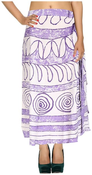 Cotton Printed Purple & White Circles Pattern Maxi Length Casual Wrap Around Women Skirt By Rajrang
