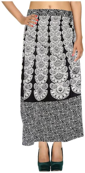 Cotton Printed White & Black Damask Pattern Maxi Length Casual Wrap Around Women Skirt By Rajrang