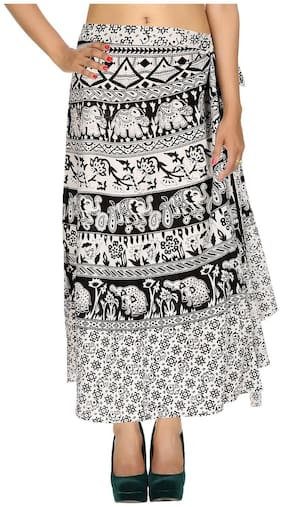 Cotton Printed White & Black Elephant Pattern Maxi Length Casual Wrap Around Women Skirt By Rajrang