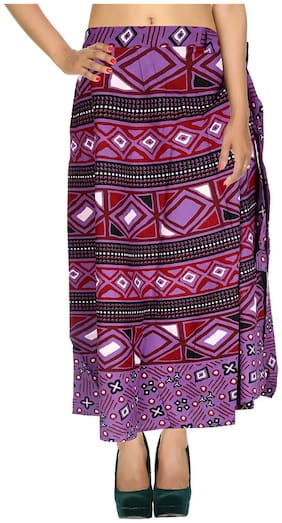 Cotton Printed Purple & Maroon Geometric Pattern Maxi Length Casual Wrap Around Women Skirt By Rajrang