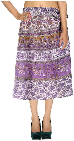 Cotton Printed Purple & White Elephant Pattern Midi Length Casual Wrap Around Women Skirt By Rajrang