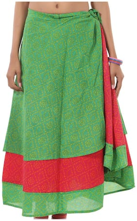 Cotton Printed Green & Red Abstract Pattern Midi Length Casual Wrap Around Women Skirt By Rajrang