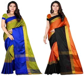 Cotton Silk Saree With Blouse_PBOB (pack of 2)