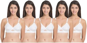 In Beauty Set of 5 Non Padded Cotton Demi Cup Bra - White