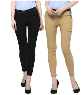 Cotton Spandex Trouser for Woman/Girl (6 Buttoned) Combo of 2