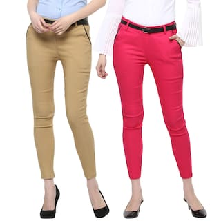 Girl Combo Trouser Buttoned Cotton 2 6 of Spandex for Woman 1BWxqpO