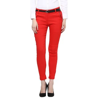 Cotton Spandex Trouser for Woman/Girl (Leather Detailed) {Red}