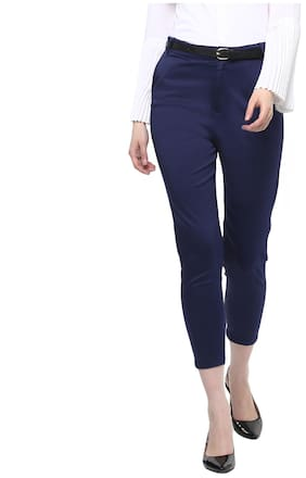 Cotton Spandex Chinos Trouser for Woman/Girl {Blue}
