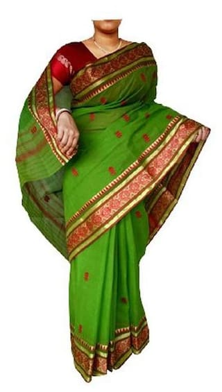 DHANIAKHALI TANT Cotton Tant Embroidered work Saree - Green , With blouse